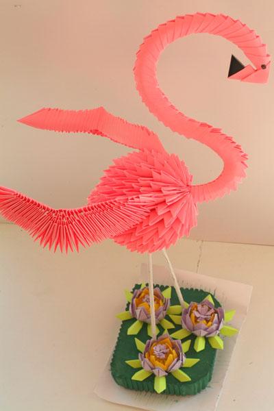 модульное оригами фламинго схема.